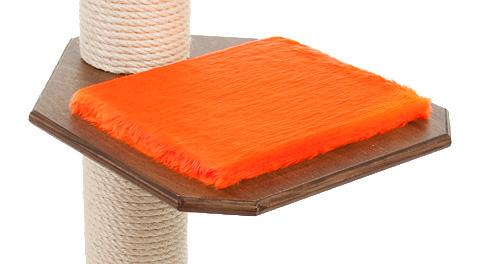 Holzfarbe: Dunkelnuss - Auflage: Knallorange