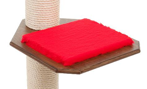 Holzfarbe: Dunkelnuss - Auflage: Rot